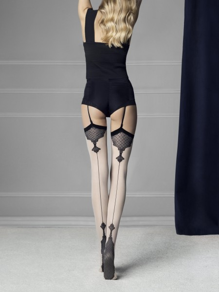 Fiore - 40 denier back seam stockings with sophisticated pattern