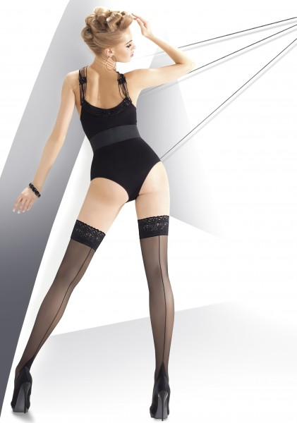 Annes Exclusive Calze 20 denier sheer back seam hold ups with beautiful floral pattern lace top