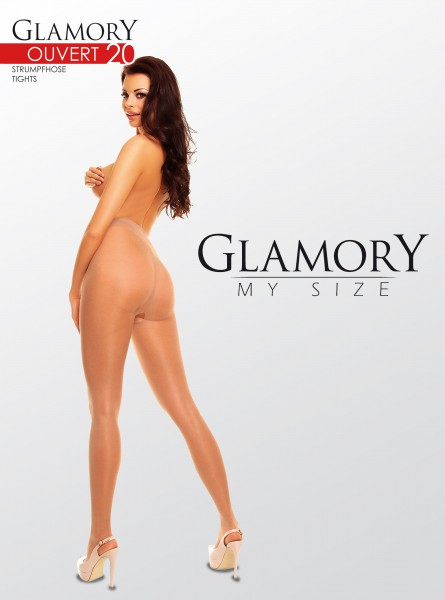 Glamory Ouvert 20 - Glossy plus size tights with open crotch