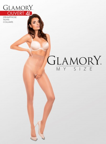 Glamory Ouvert 40 - Semi-opaque, glossy plus size tights with open crotch