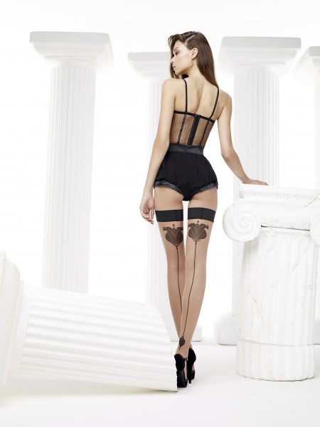Omero - Sensuous back seam hold ups with sophisticated flower pattern Tulipa