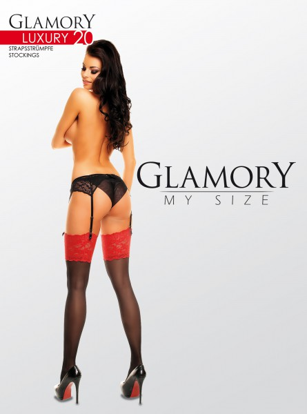 Glamory Luxury 20 - Elegant gloss plus size stockings with lace top