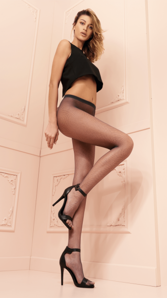 Trasparenze - Classic fishnet tights in trendy colours Ambra