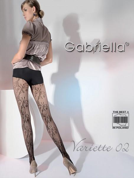 Gabriella - Elegant floral pattern fishnet tights Variette 02