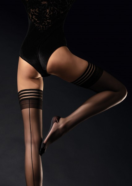 Fiore - Back seam hold ups with sophisticated lace top