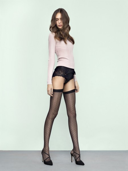 Fiore - Polka dot stockings with flat top Chatty 20 denier