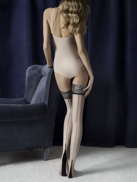 Fiore Lust - 20 denier back seam hold ups with leopard print top