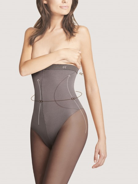 Fiore High Waist Bikini 40 - Semi-opaque tights with tummy control top