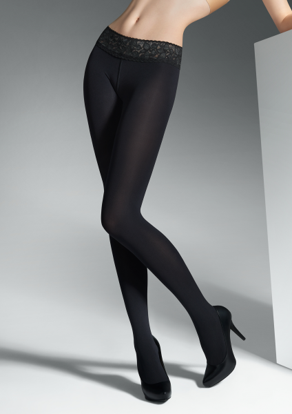 Marilyn - Hipster tights with elegant lace finish at the top Vita bassa 100 DEN