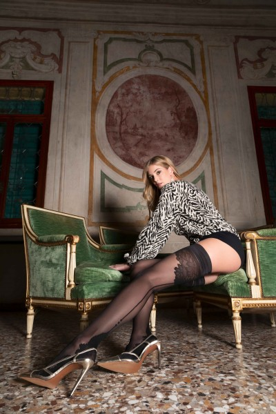 Trasparenze Ninfa - Sensuous hold ups with back seam and floral pattern