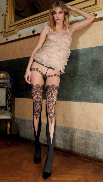 Trasparenze - Sensuous mock hold up tights with lace top design